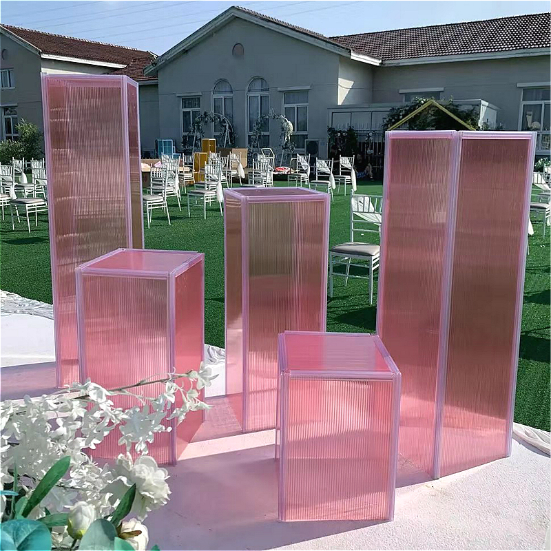 Fashion Wedding Creative Props Decorative Geometry Road Lead Cake Stand Plastic Pillars Flower Pot Road Lead Stand Party Event