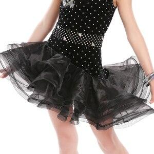 Image 5 - Przywiązany czarny strój latynoski dziewczyny aksamitna sala balowa łacińskie ubrania taneczne dzieci zimne ramię Vestido De Baile Latino na sprzedaż