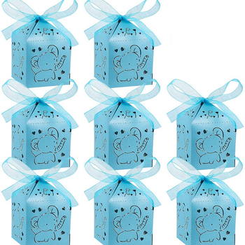 5pcs Blue pink Elephant candy Gift box Boy girl Baby Shower Animal themed wild one first birthday Decoration Table Centerpieces