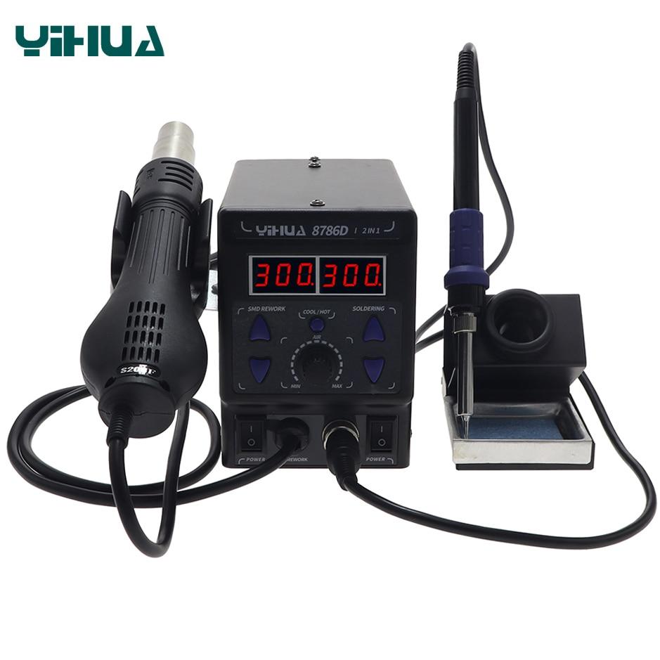 YIHUA 8786D New Upgrade Rework Soldering Station 700W SMD Hot Air Gun Soldering Iron 2 in 1 Welding Tool BGA Desoldering Station