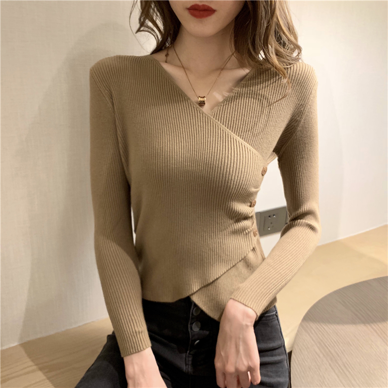 Women Cross V-neck Full Sleeve Pullovers Sweaters Girls Knitted Knitwear Buttons Sweater Crop Tops For Female Real Photos