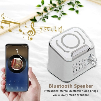 White Noise Sleep Sound Machine with Wireless Charging and Bluetooth Audio Function, Can Mix 10 Kinds of Natural Soothing Sounds