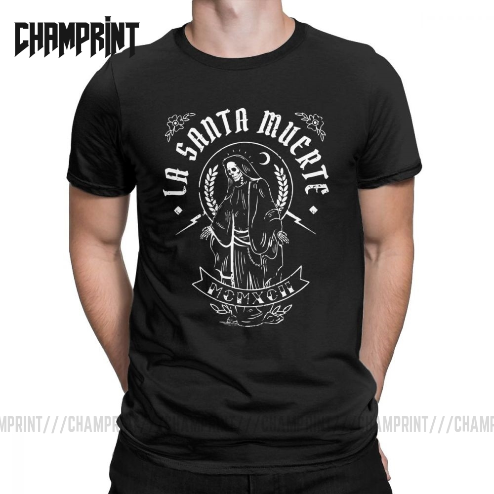 La Santa Muerte T Shirts Men Pure Cotton Vintage T-Shirts Saint Death Goth Mexican Death Muertos Mother Skull Tees Short Sleeve