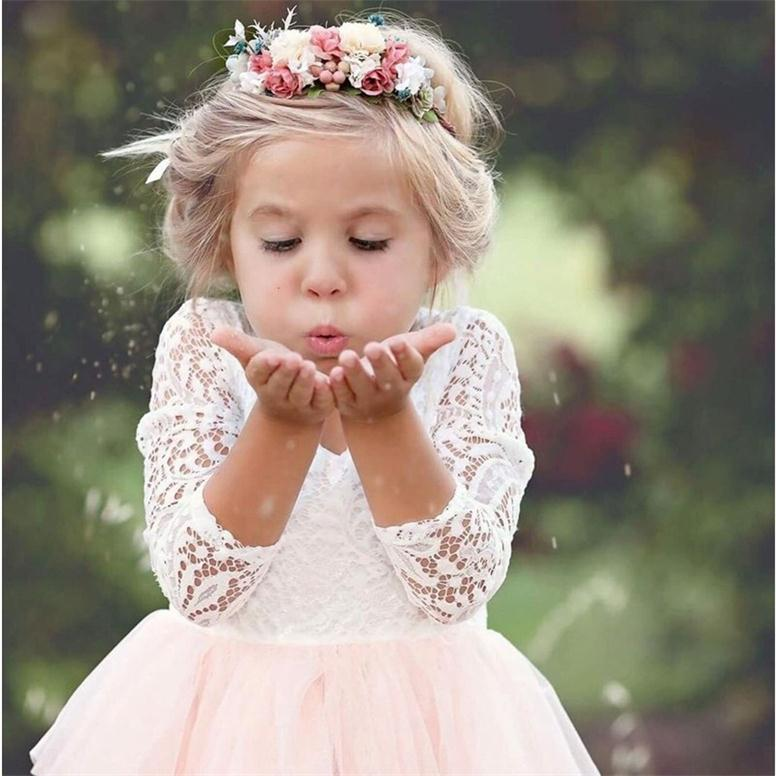 Baby Children Girl Dress 2018 Kids Ceremony Party Dresses Tulle Lace Flower Girl Wedding Gown Baby Girl Graduation Dress 6