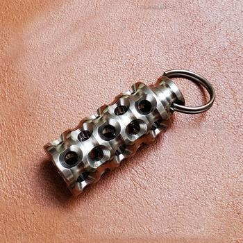 Drążą wielootworowe koraliki ze stopu tytanu linka do parasola DIY wisiorek akcesoria do koralików Paracord tanie i dobre opinie CAMISUENO Paracord DIY Silvery Titanium Knife Beads Small Beads