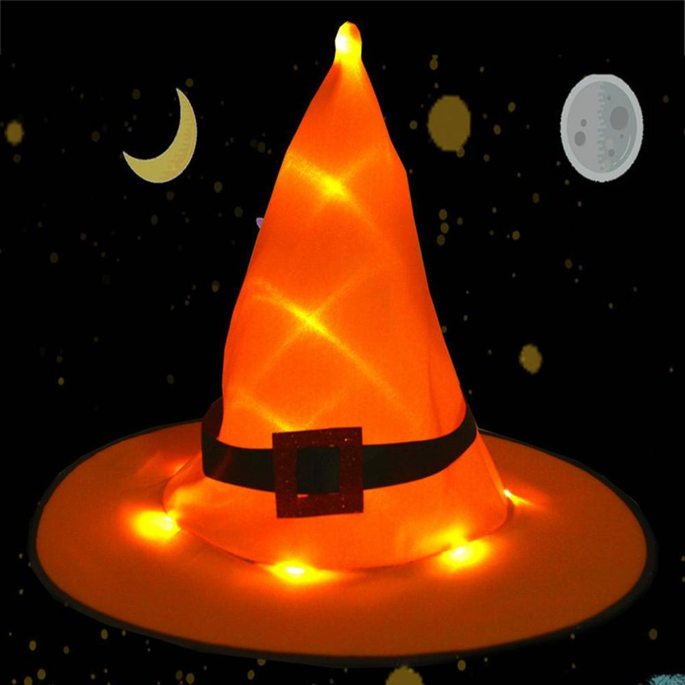 Halloween Glow Witch Hat Orange Purple Red Pink Rose Red Witch Hat Glow Orange Buckle Witch Hat Fashion