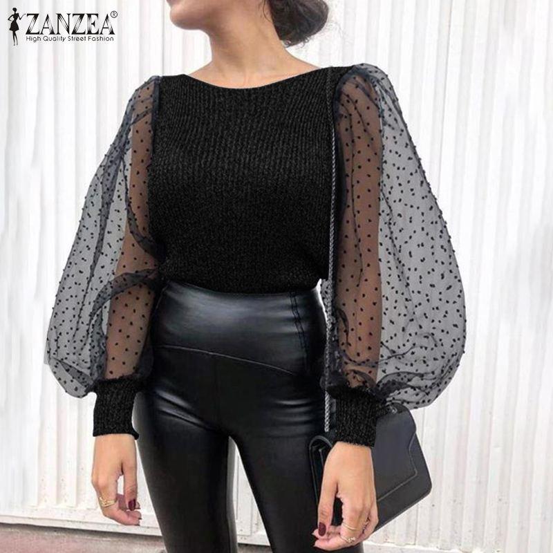 ZANZEA Women Fashion Tunic Tops Casual Loose Shirt 2020 Fashion Lady Knitted Patchwork Lace Puff Sleeve Blouse Chemiser Mujer 7