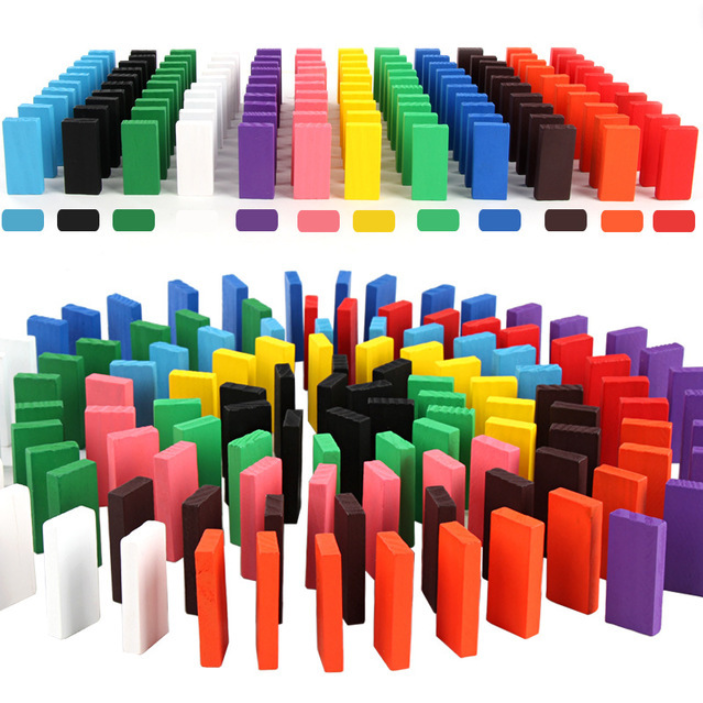 360 шт цветные деревянные игрушки домино Bois, Наборы кубиков домино, обучающие игры домино, детские игрушки - Цвет: 120pcs  Color Random