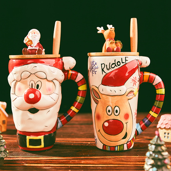 600ml Big Christmas Mugs Coffee Cups Cartoon Cup Ceramic With Lid Gifts For Kids Xmas Decor Happy New Year