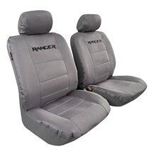 Tampas de assento da lona para o caminhão de ford ranger, protetor dianteiro cinzento impermeável do automóvel do bordado do grupo, ajuste fácil universal seguro do airbag