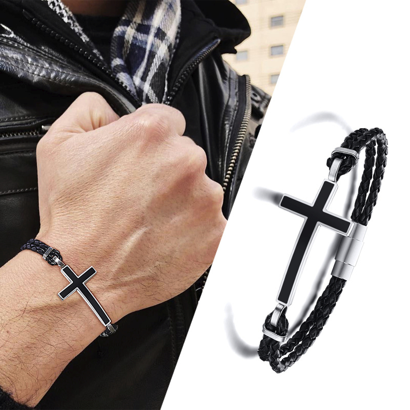 3mm Leather Braided Bracelet with Stainless Steel Secure Magnetic Clasp-Men/'s Bracelet-Women/'s Bracelet-Yoga Jewelry-Unisex jewelry gift.