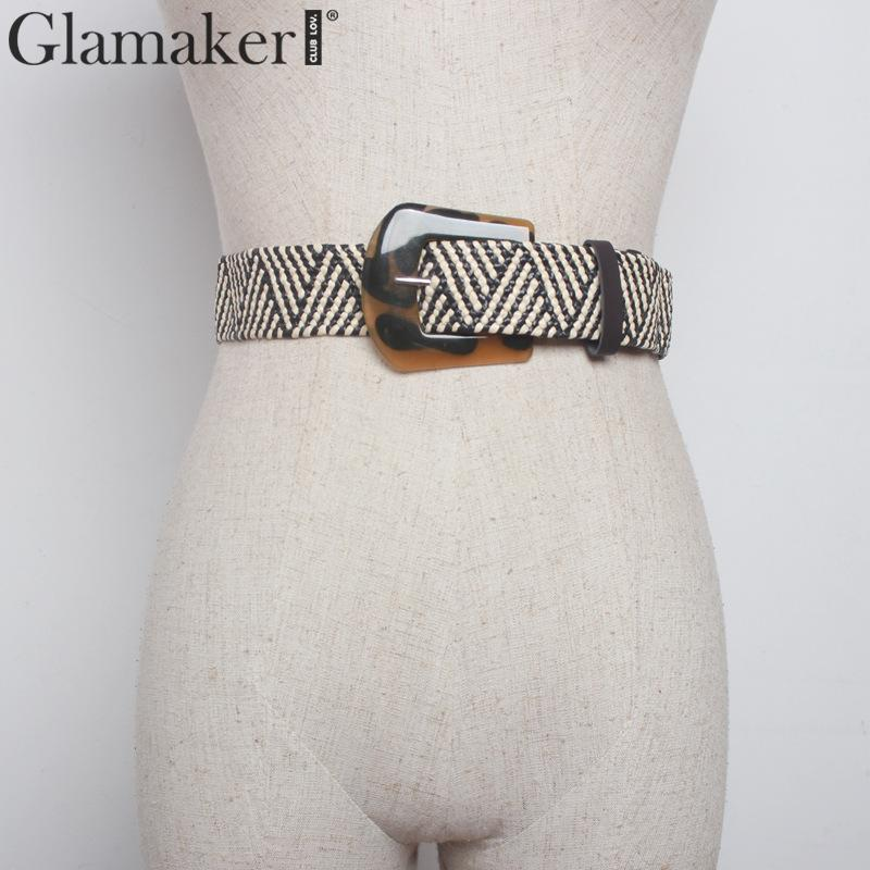 Glamaker Acrylic Wide Belts For Women Accessories Korean Fashion Braided Belt Plus Size Vintage Pvc Wide Belt For Dress 2019AW
