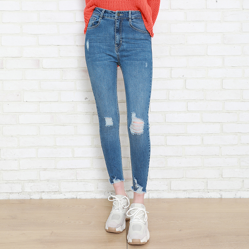 Autumn Winter Leisure Women Denim Skinny Pant Stretch High Waist Washed Blue Destroy/Rips Slim Elastic Lady Jeans