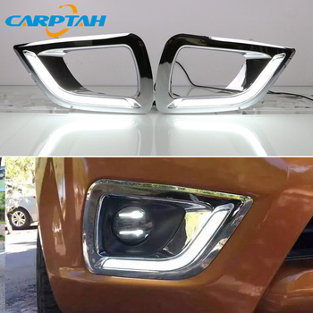 LED Daytime Running Light For Nissan NP300 Navara 2015 2016 2017 2018 Waterproof 12V Fog Lamp Decoration Bumper Light LED DRL