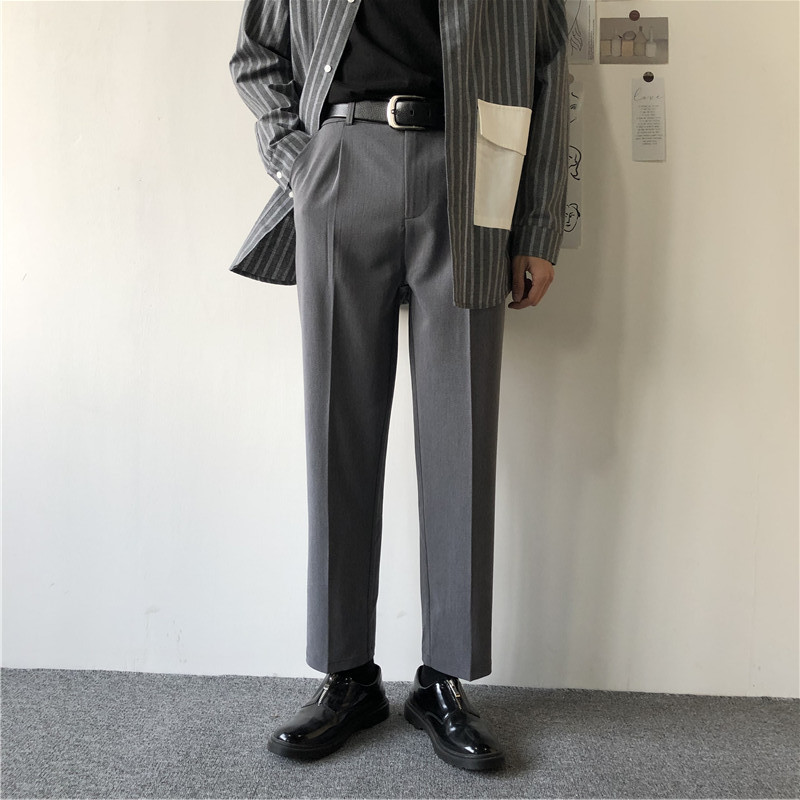 2020 Men's Loose Western-style Trousers Leisure Trouser Straight Fit Casual Pants Formal Business Design Cotton Suit Pants S-3XL