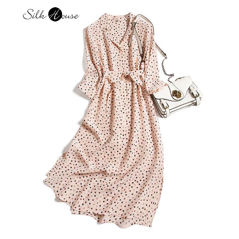 Silk Dress 2020 Autumn Polka Dot Half-Sleeve Shirt Long Waist Hugging Slim Temperament Floral Silk Shirt Skirt
