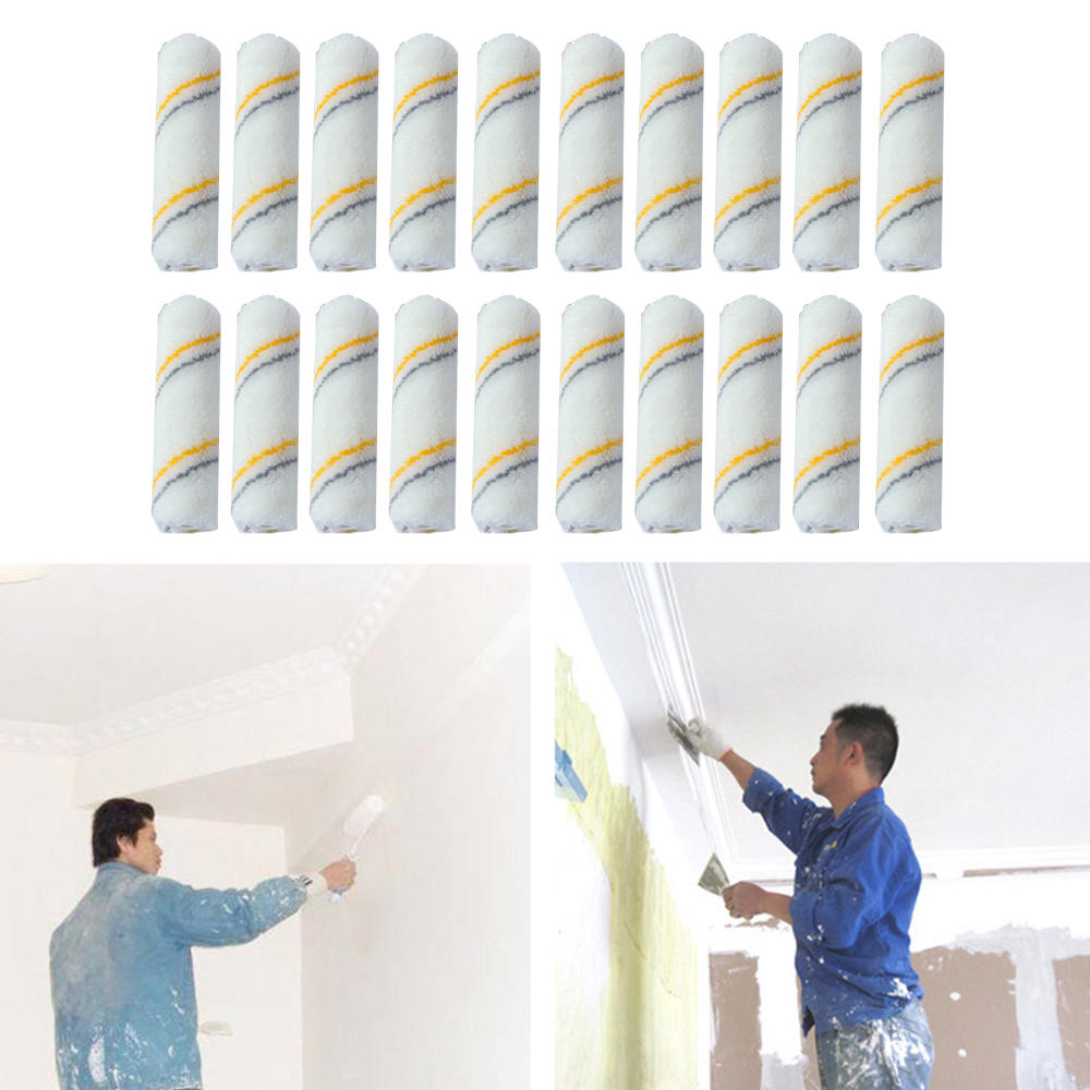 20*Mini Craft Paint Foam Rollers Paint Roller Brush Decorators Brush Smooth Tools Decorating Painting Tool  4 Inch White