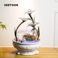 110V / 220V European Style Water Fountain Fish Tank Ceramic Feng Shui Decor Home Humidifier Hydroponics Flower Pot Fountain Gift