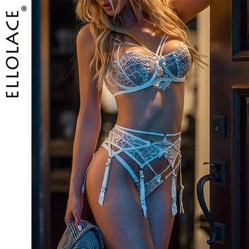 Sexy Dessous Set Frauen Unterwäsche Set Spitze Push up Transparent 3 Stück Set Erotische Dessous 1