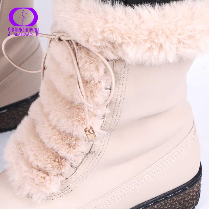 AIMEIGAO Wasserdichte Frauen Winter stiefel Warm Plüsch Spitze Up Weiß Pelz Schnee Stiefel Frauen Seite Reißverschlüsse Plattform Leder Botas Mujer