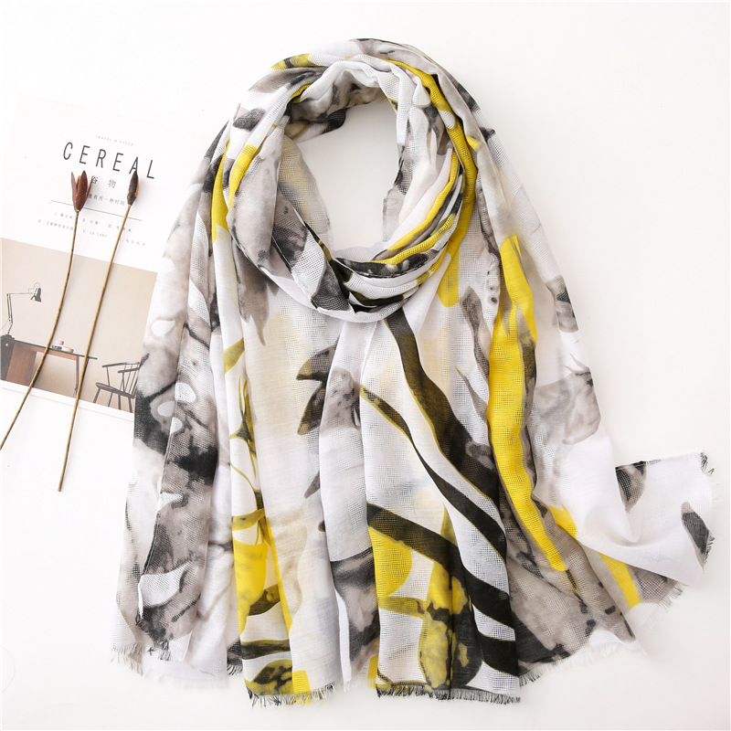 Autumn Winter Spain Fashion Ink Painting Floral Viscose Shawl Scarf Women Print Soft Warm Hijab And Wraps Muslim Sjaal 180*90Cm