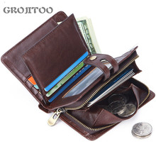 GROJITOO New Men's multi-card  fashion business short leather wallet coin purse card bag