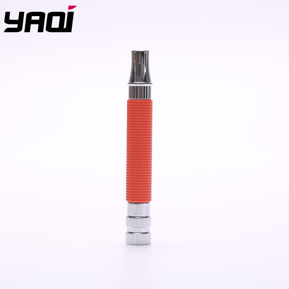 Yaqi Bright Red And Chrome Color Brass Safety Razor Handle