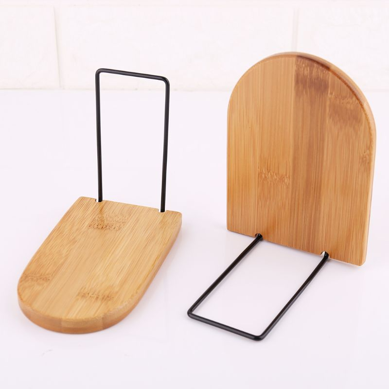 Nature Bamboo Desktop Organizer Office Home Bookends Book Ends Stand Holder Shelf Bookrack L41E