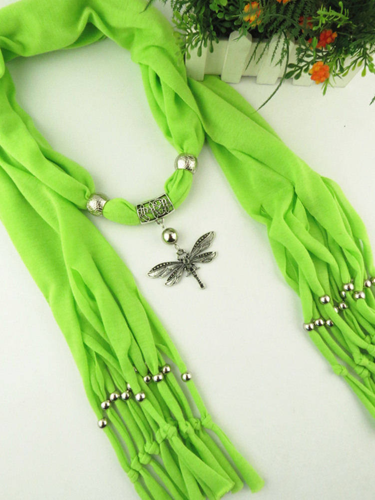 Fashion foreign trade fringed jewelry scarf alloy Dragonfly Pendant lady autumn and winter shawl neck