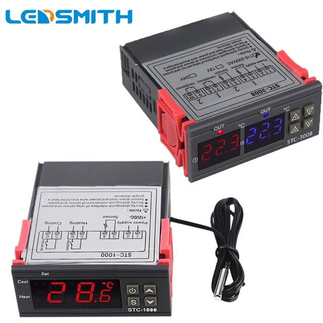 12V 24V 110V 220V Thermostat numérique thermorégulateur interrupteur de contrôle de température capteur mètre incubateur réfrigérateur chauffage refroidissement