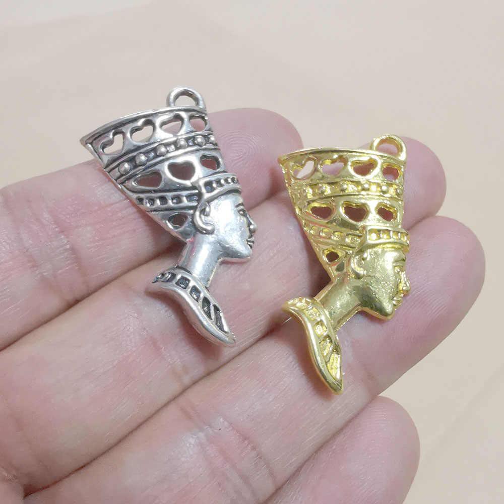 6 teile/los Charme Ägyptische Ägypten Königin Nofretete Vintage Gold Anhänger Charme für Schmuck Machen DIY Ohrringe Halsketten Halskette