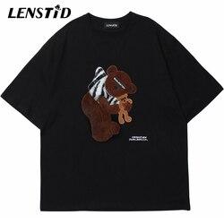 Lenstid Zomer Mannen Korte Mouw T-shirts Hip Hop Borduurwerk Beer Patch T-shirt 2021 Streetwear Harajuku Casual Katoenen Tops Tees