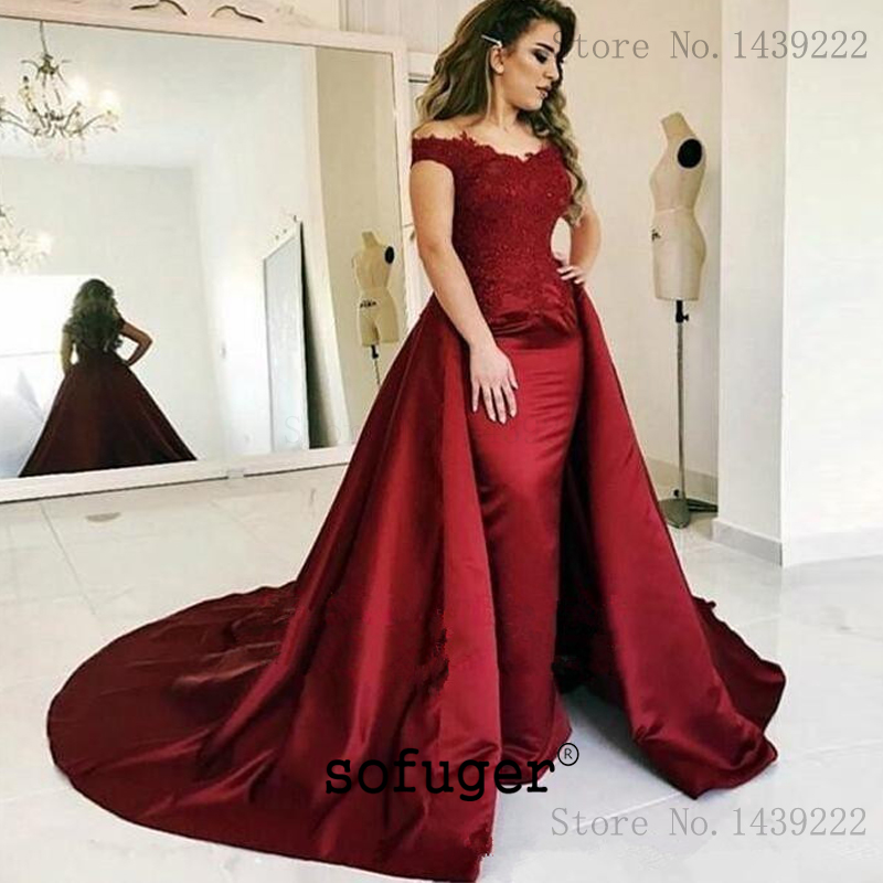 Burgundy Satin Off the Shoulder   Evening     Dresses   Prom Lace Appliques Long Arabic Special Occasion Robe De Soiree Plus Formal Dres