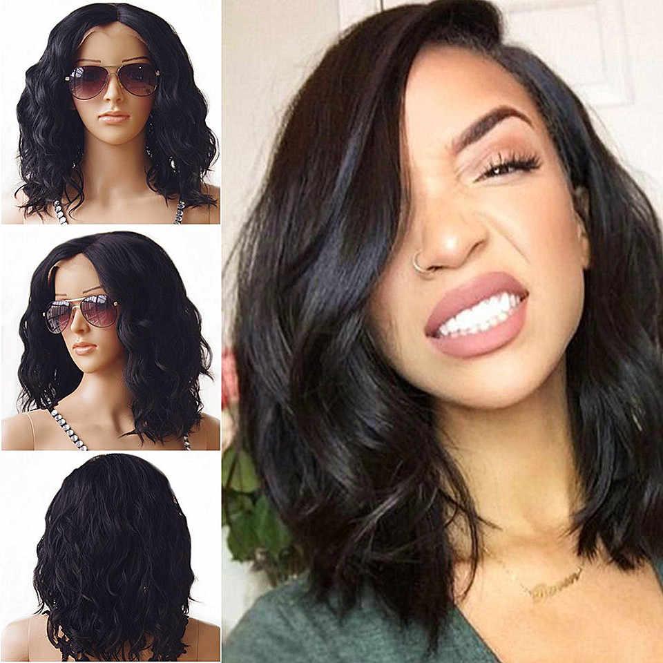 Черные перуанские волнистые волосы без клея, короткие волосы с Бобом, полностью кружевные волосы, влажные и волнистые волосы, предварительно выщипывающиеся волосы для женщин, Remy