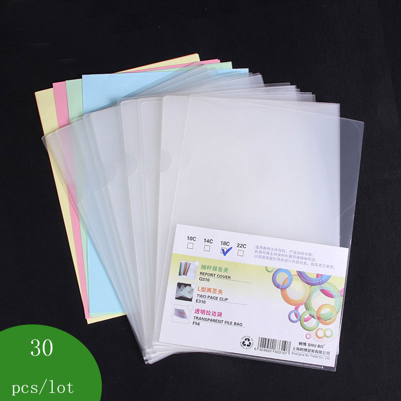30 Pcs/lot Clear Folder Cost-effective File Bag Office Organizers PP Document Organizer Folder A4 Clear Waterproof Material