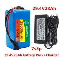 Литиевая батарея 24 В, 28 Ач, 7s3p 18650, 24В, 2800ма/ч, для электрического велосипеда, мопеда, фотоэлектрический аккумулятор + 2 зарядных устройства