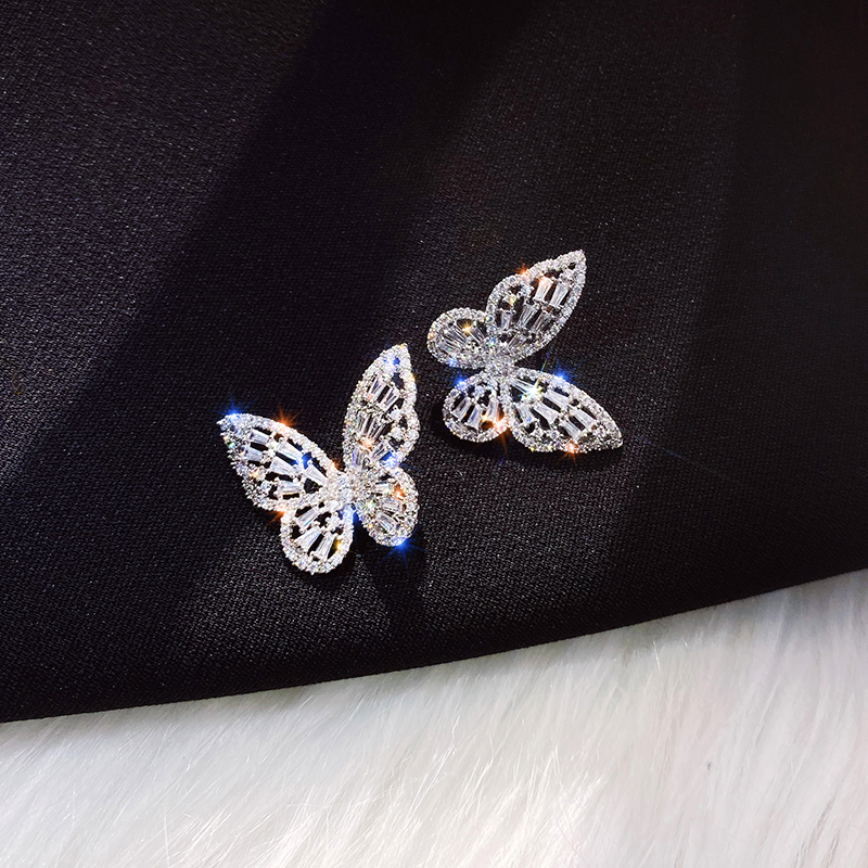 New Design Hot Sale Fashion Jewelry Premium Luxury Zircon Earrings Smart Butterfly Earrings for women gift(China)