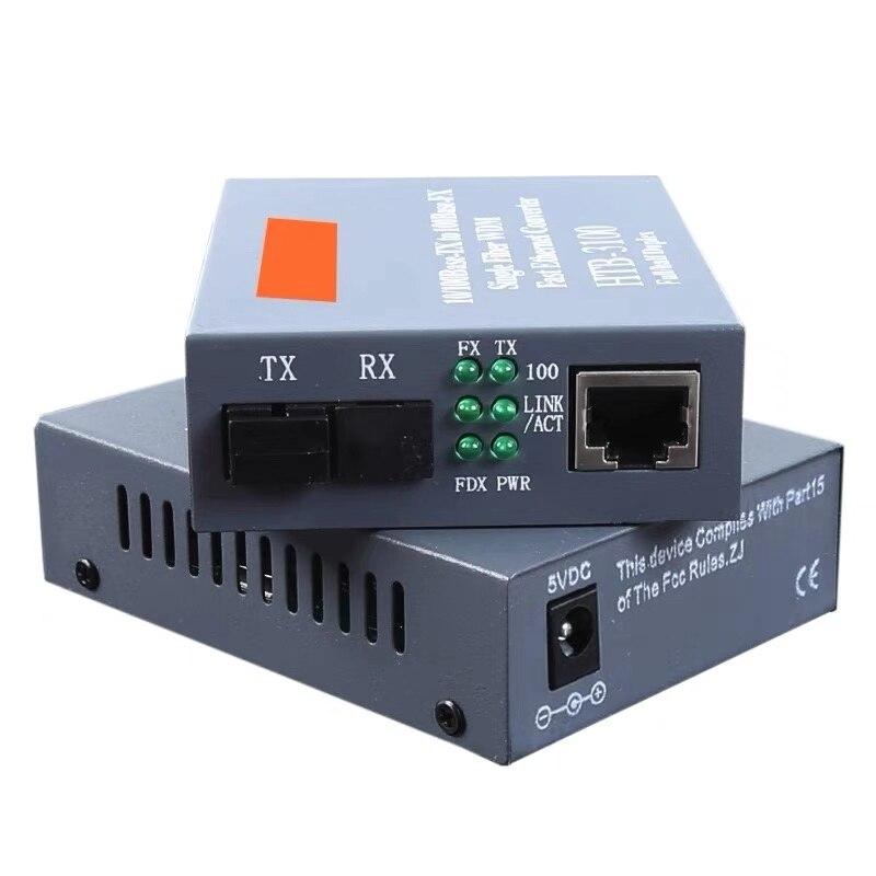 1 Pair HTB-3100 Optical Fiber Media Converter SC 10/100M Singlemode Single Fiber Fiber Transceiver Single Fiber Converter 25km