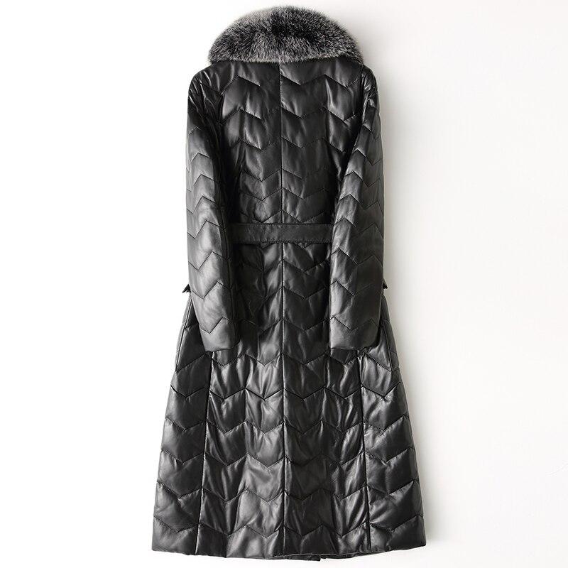 European Luxury Genuine Leather Jacket Women Natual Raccoon Fur Collar Real Sheepskin Long Doube Breasted Leather Coats