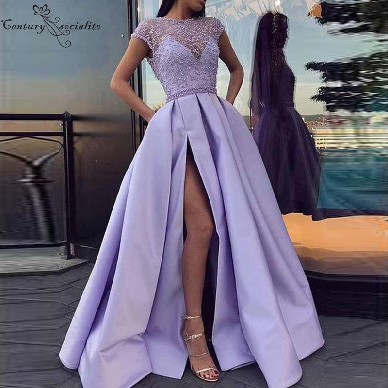 Lilac Prom Dresses Long With Beaded Lace Side Split Cap Sleeves Satin Evening Dress Plus Size Party Gowns Vestidos De Festa 2020