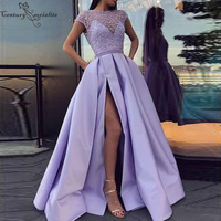 Lilac Prom Dresses Long with Beaded Lace Side Split Cap Sleeves Satin Evening Dress Plus Size Party Gowns Vestidos De Festa 2020
