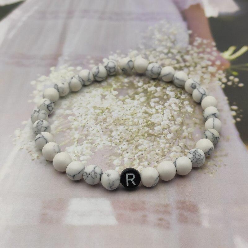 Fashion Couple Bracelets Natural Stones Beaded Bracelet for Men and Women A-Z 26 Letters Bracelet 6MM Matte Black Onyx Handmade
