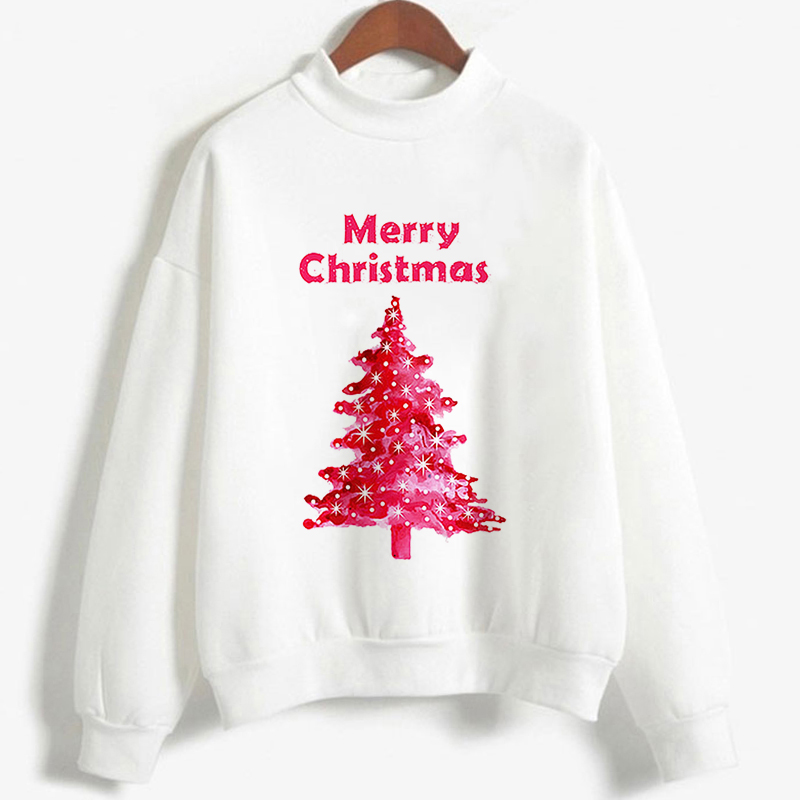 Christmas Tree Print Pullover Oversized Sweatshirt