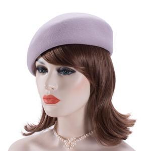 Image 4 - Women Vintage Look 100% Wool Felt Tilt Winter Beret Hats Pillbox Fascinator Saucer Tilt Cap Formal Dressy A468