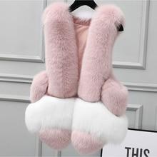Faux Fur Vest Winter Women Casual Slim Sleeveless Faux Fox Fur Vest Winter Furry Jacket Women Rabbit Fur Vest Jacket Cute Pink