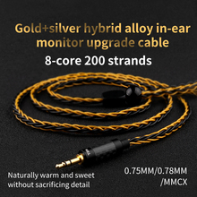 0.75 MMCX TRN T1 8 Cord Gold Silver Mixed Plated Upgrade Cable Stereo Audio Headphone Wire for V90  IM2 V80 V30 V60 X6 AS10
