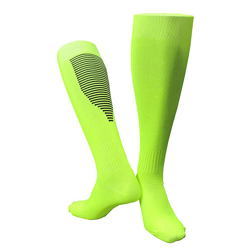 Men'S And Women'S Football Socks Thickened Breathable Sweat-Absorbent Over-The-Knee Football Training Stockings Fluorescent Gree