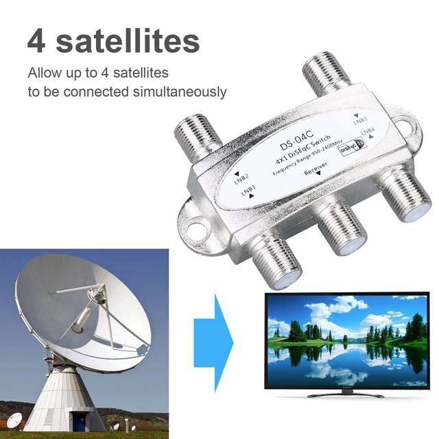 4 in 1 4 x 1 DiSEqc 4-way Wideband Switch DS-04C High Isolation Connect 4 Satellite Dishes 4 LNB For Satellite Receiver 2