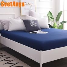 Sábana de algodón ajustada 100 tipo sábana lisa de Color liso con cubierta elástica para colchón individual completo doble reina
