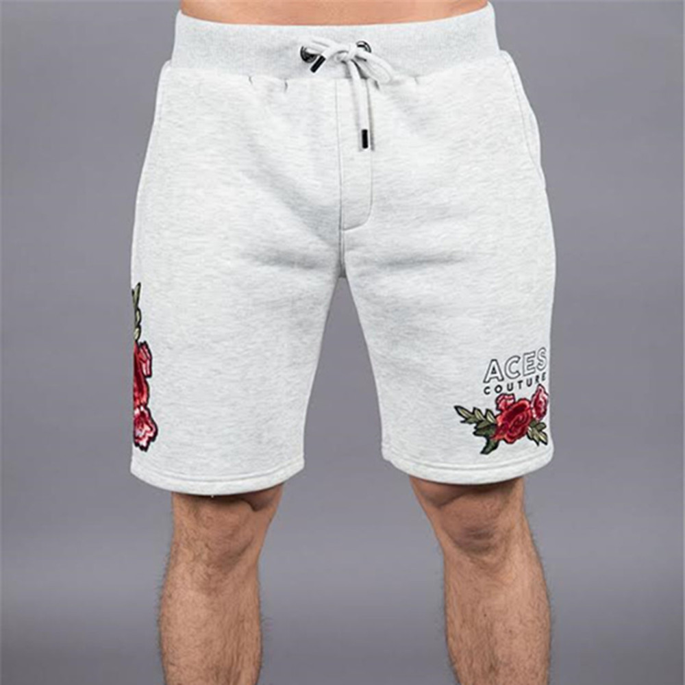 China's Style Men Shorts Fashion Peony Embroidery 5 Point Pants Men Casual Slim Bottoms Shorts High Quality Sweatpants